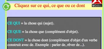 Grammaire : ce qui, ce que ou ce dont ? (fiche + exercice, en HTML5)