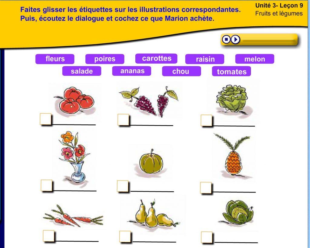 Dialogue au marché, fruits et légumes