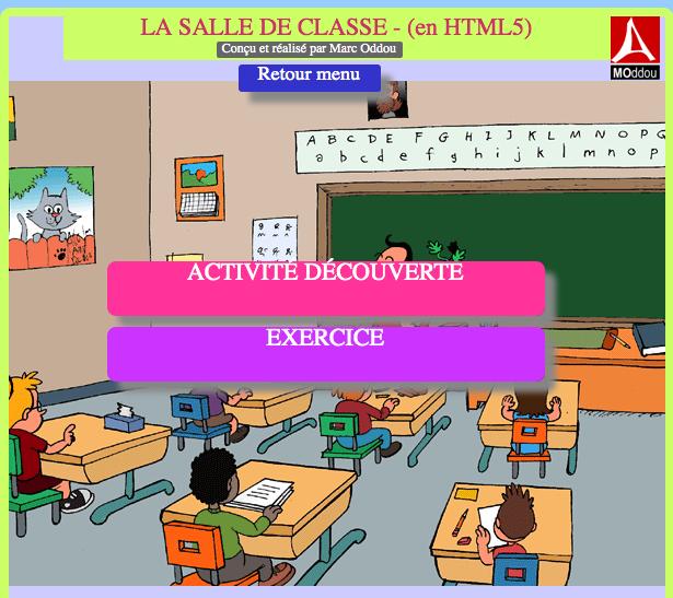 La salle de classe – Activité en HTML5 (compatible tablettes et smartphones)