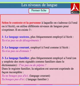 les niveaux de langue 4ème Français