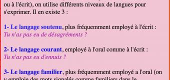 Les niveaux de langue (soutenu, courant, familier)