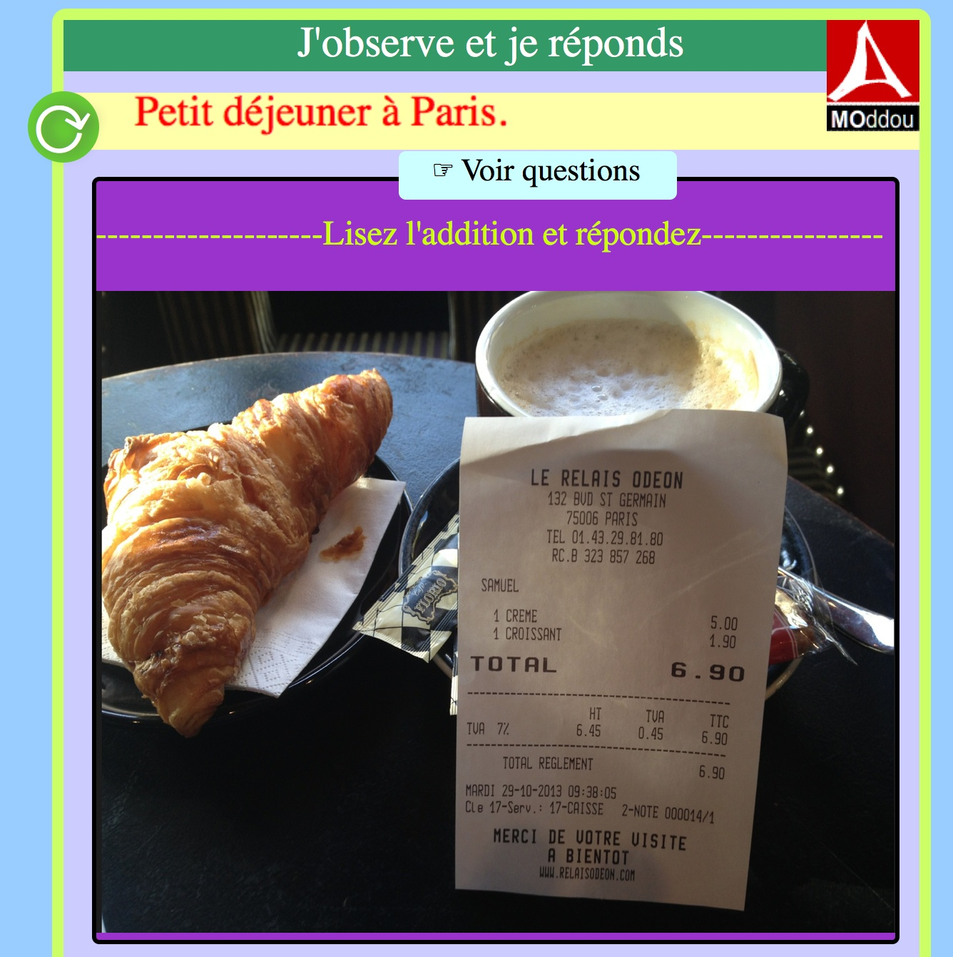 Questions à partir d'un document authentique : un petit déjeuner à Paris.