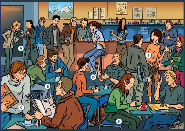 Dialogues d'étudiants dans une cafétéria