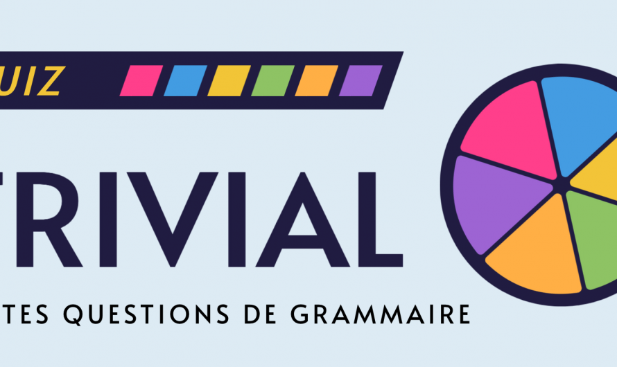 Quiz de grammaire animé, 6 petites questions.