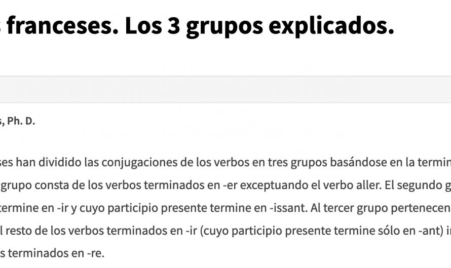 Los verbos franceses. Los 3 grupos explicados.