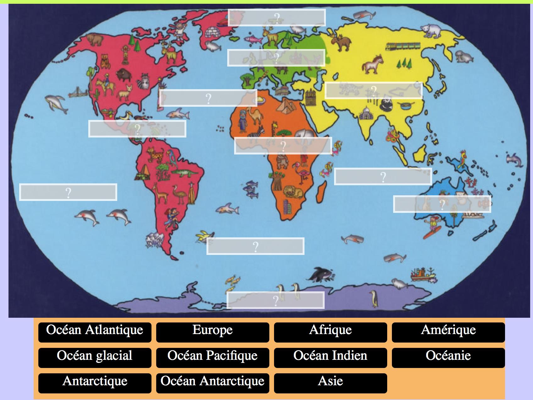 Continents et océans, activité pour écouter et placer les noms