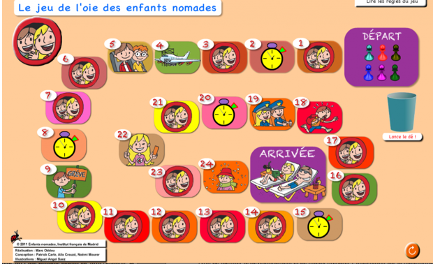 "Jeu de l'oie des ""enfants nomades"", ressource TBI-TNI – version flash"