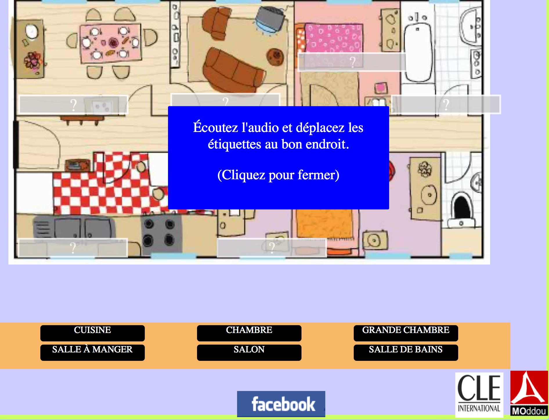 Les pièces de l'appartement, activité compatible tablettes (mode paysage).