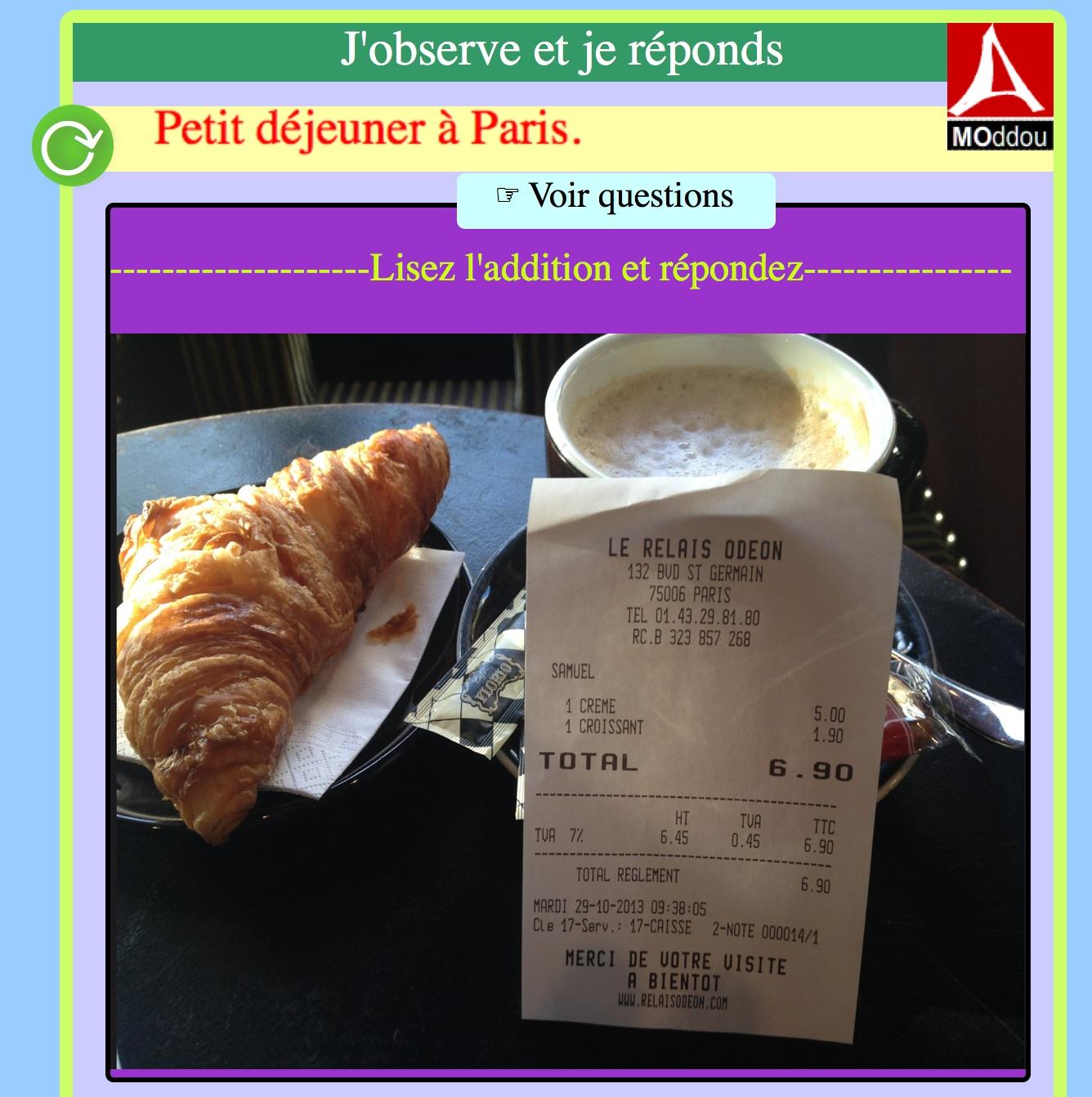 Questions à partir d'un document authentique : un petit déjeuner à Paris.