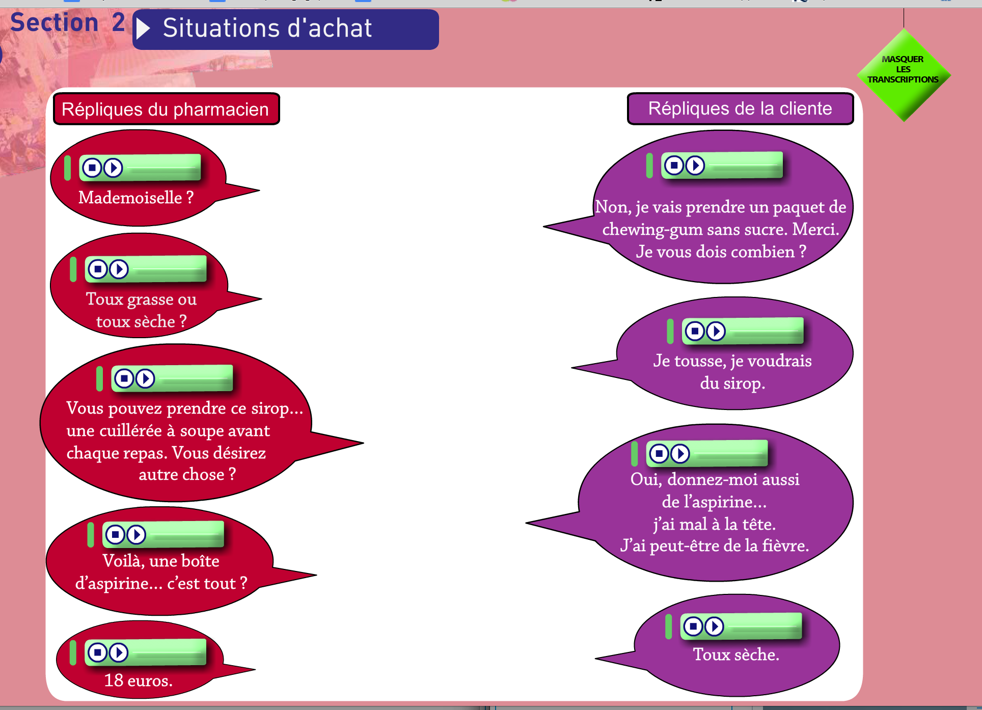 Situations d'achat – Dialogue